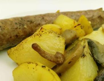 Botifarra amb patates i bolets